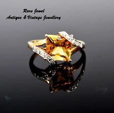 9CT GOLD DIAMOND RING EYE CATCHING CITRINE COCKTAIL DESIGN VINTAGE JEWELLERY