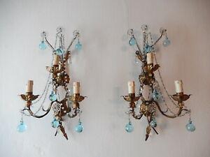 ~c 1920 French Bronze Aqua Murano Balls  Crystal Prisms Blue Sconces~