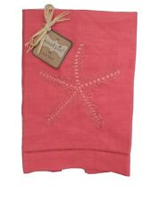 Mudpie Embroidered, 100% Linen Hand Towel. NEW. Starfish Coral color