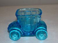 vintage sky blue Glass Candy container cab car made by Jeannette Glass Pa.