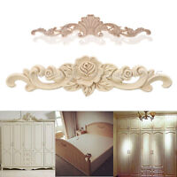 Unpainted Wood Carved Applique Frame Onlay Furniture Art Carving Craft Decor