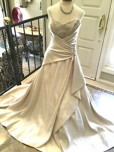 Maggie Sottero HAUTE COUTURE Wedding dress Bridal gown Corset lace up 10 gold