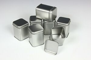200ml PLAIN TALL SQUARE TINS / CADDY - Sweets Tea Herbs Kitchen Coffee Camping
