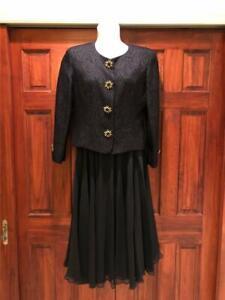 Pierre Balmain~Retro 1980's 2pc Black~Skirt Suit ~Size 14~Impeccable~Buttons