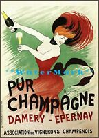 Pur Champagne 1902 Art Nouveau Lady Vintage Poster Print Retro Style  Wall Decor