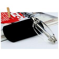 +4.0 Strength Folding Reading Glasses Rimless Portable Eyeglasses Case Eye Frame