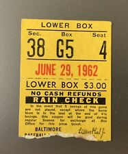 6/29/62 Ticket Stub Detroit Tigers Vs Baltimore Orioles