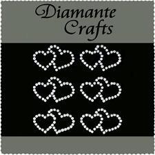 6 Ivory Pearl Double Hearts Vajazzle Rhinestone Body Art Self Adhesive Gem