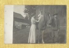 x RPPC 1908-39 BABY ON HORSE WITH LADY AND TEEN BOY REAL PHOTO POSTCARD