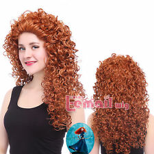 USA Ship Merida Brave Disguise Long Orange Curly Wavy Full Hair Wigs Cosplay Wig