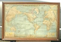 "Antique 1943 Large National Geographic Map Of The World Nice Heavy Frame 46""X29"""