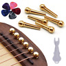 Guitar Bridge Pins 6pcs Pure Brass Endpin for Acoustic Guitar 6 Strings Nail Peg