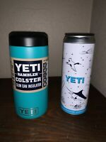 Unregistered Aquifer Teal Blue YETI  SLIM* Can Insulator Koozie & YETI STASH CAN