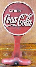 Coca Cola Doorstop Red White Classic Logo Round Sign Shaped Cast Iron Door Stop
