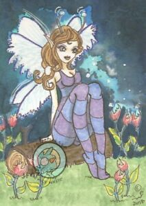 Firefly Field Cartoon Fairy fae L/E Hand Embellished Fantasy ACEO art PRINT ejw