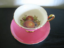 Shelley Gainsborough Pink Fruit Bottom China Pedestal Cup & Saucer