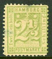 Germany 1864 Hamburg 2½ Shilling Yellow Green SG 27 Mint I321 ⭐⭐⭐⭐⭐⭐
