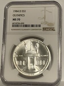 1984-D Olympics Commemorative Silver One Dollar Coin NGC MS70