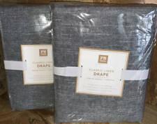 New~2 Pottery Barn~Classic Linen Blackout Curtains Drapes 44x84~Dark Grey
