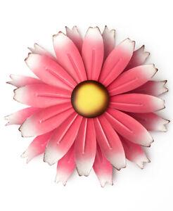 Large 1 Foot Diameter Pink Metal Wall Flower Yard Wind Spinner Garden Sculpture