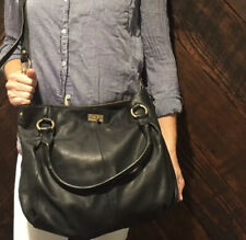 J. Crew Brompton Black Pebbled Leather Satchel Hobo Crossbody Bag