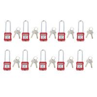 10Pcs Safety Lockout Padlock Lock Keyed Different, Key Retaining, Red