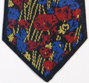 Blue Gold Red Floral MILA SCHON Silk Tie