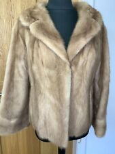 Real blond beige mink fur jacket wedding bolero sleeve coat sz UK12 US10 EU40-42