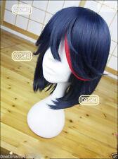 Kill la kill Matoi Ryuko cosplay dark blue mix red short Matoi Ryuuko cos wig