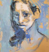 Vintage expressionist gouache painting woman portrait