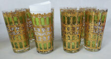 SIGNED Olive green scroll GOLD hiball set 7 culver gate trellis water vintage