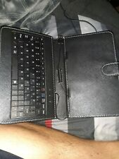 """Leather USB QWERTY Keyboard Folio Magnetic Case Stand + Stylus Pen for 7"""" Tablet"""