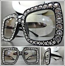 OVERSIZED VINTAGE RETRO Style Clear Lens EYE GLASSES Black Square Bling Frame