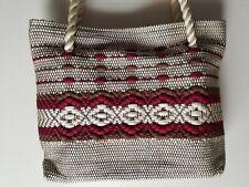 Vintage purse handbag rope handles UNUSED zipper closure polyester woven design