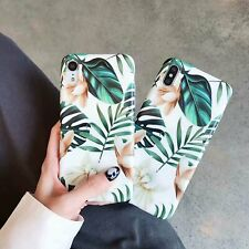 Soft Phone Case For iPhone 11 XS MAX XR X 8 Plus Glossy Green Leaf Flower cover