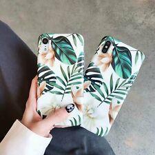 Suave Funda de Teléfono para iPhone 11 XS MAX Xr X 8 Plus brillante cubierta de flores de hoja verde