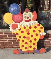 "Vintage ASBURY PARK NJ AMUSEMENTS HAPPY CLOWN DISPLAY WOODEN As-Is 47""x39"""