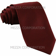 New Men's Formal stripes polyester Neck Tie necktie burgundy party prom wedding