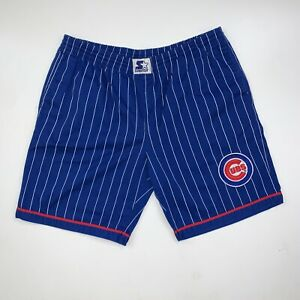 Vintage 90s Chicago Cubs Starter Pinstripe Shorts Size Mens XL MLB Baseball Blue