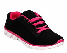 NEW WOMENS LIGHTWEIGHT LACE UP GYM RUNNING LADIES COMFORT TRAINERS SHOES UK 3-11