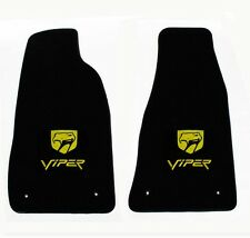 NEW! Black Floor Mats 1992-2002 Dodge Viper Embroidered Snake Double Logo Yellow