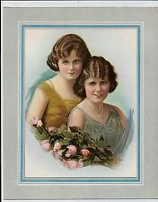 ANTIQUE VINTAGE 1920'S CALENDAR TOP PRINT OF 2 WOMEN AND PINK ROSES