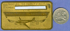PRICE CUT * 1940's BRASS SOCIAL SECURITY CARD W/ AIRPLANE & AMERICAN FLAGS AD763