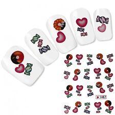 NAIL ART ADESIVI CUORE CANDY CIAMBELLA Heart Adesivo per unghie piedi Water Decal