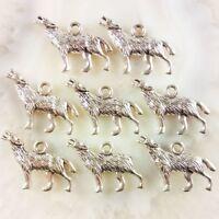 30Pcs Carved Tibet Silver Wolf Pendant Bead 25x16x3mm JC316