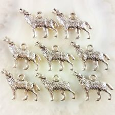 30Pcs Carved Tibet Silver Wolf Pendant Bead 25x16x3mm JC316