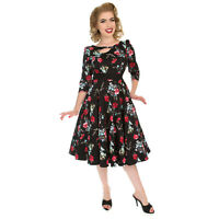 Hearts & Roses London Black Red Floral Vintage Retro 1950s Flared Tea Dress