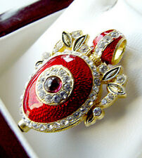 SALE !   GORGEOUS RUSSIAN PENDANT STERLING SILVER ENAMEL with 24K GOLD