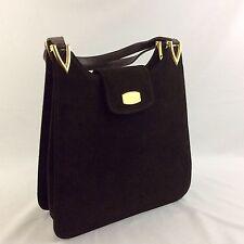 Vintage 1950s Saks Fifth Avenue Brown Suede Tote Bag Leather Straps Nice
