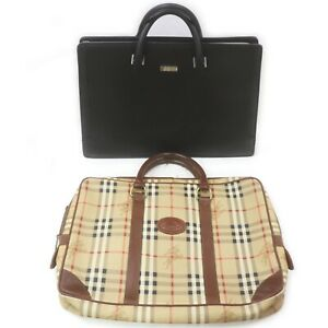 Burberrys Burberry Leather PVC Brief Case 2 pieces set 518960